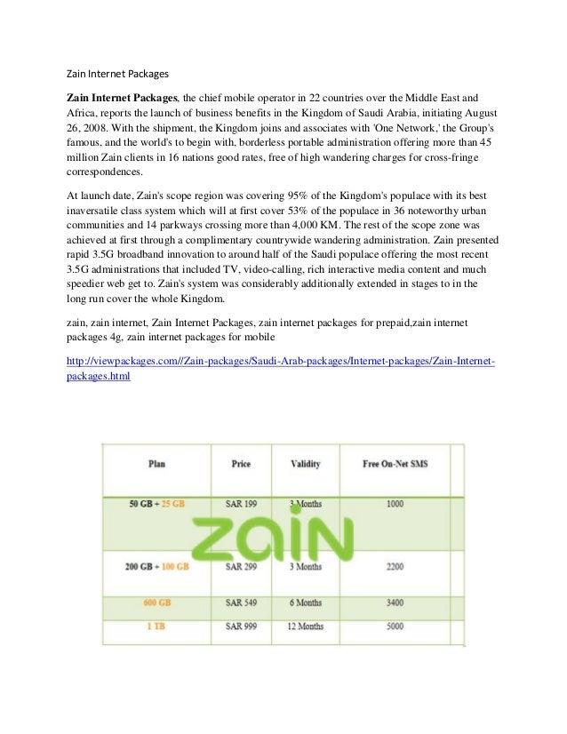Zain internet packages