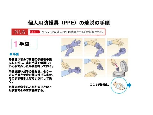 個人用防護具(PPE)の着脱の手順 手袋1 外側をつまんで片側の手袋を中表 にして外し、まだ手袋を着用して いる手で外した手袋を持っておく。 手袋を脱いだ手の指先を、もう一 方の手首と手袋の間に滑り込ませ、 そのまま引き上げるようにして脱 ぐ。...