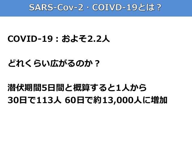 COVID-19:およそ2.2人 どれくらい広がるのか? 潜伏期間5日間と概算すると1人から 30日で113人 60日で約13,000人に増加