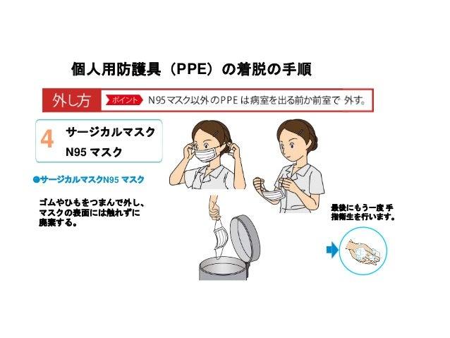 個人用防護具(PPE)の着脱の手順 ゴムやひもをつまんで外し、 マスクの表面には触れずに 廃棄する。 ◉サージカルマスクN95 マスク 最後にもう一度 手 指衛生を行います。 サージカルマスク N95 マスク 4