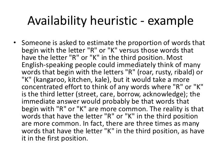 Cognitive Bias: The Availability Heuristic