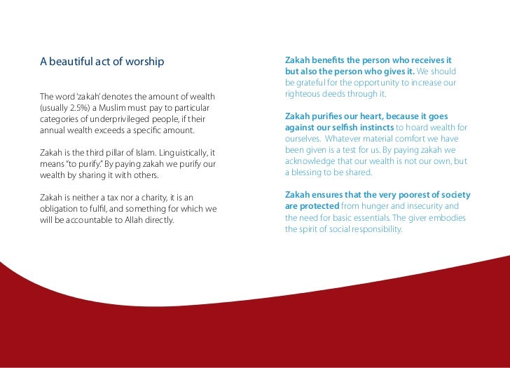 A beautiful act of worship                               Zakah benefits the person who receives it                        ...