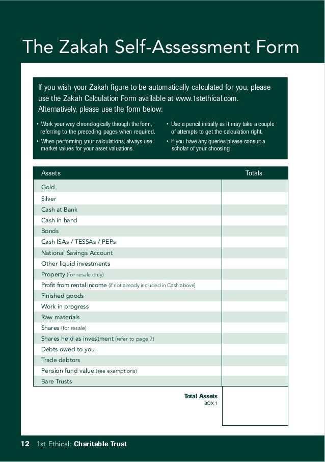 The Zakah Self-Assessment Form If you wish your Zakah figure to be automatically calculated for you, please use the Zakah ...