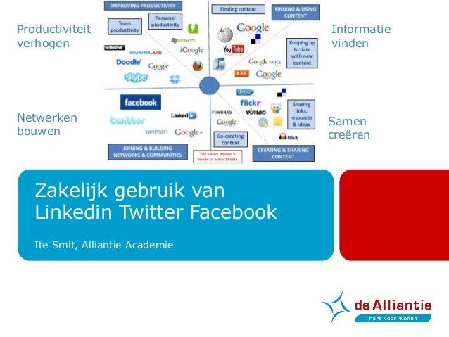 Zakelijk gebruik van Linkedin Twitter Facebook Ite Smit, Alliantie Academie Productiviteit verhogen Netwerken bouwen Samen...