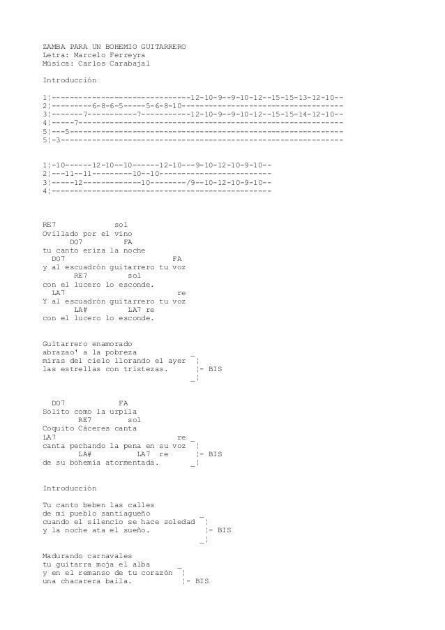 ZAMBA PARA UN BOHEMIO GUITARRERO Letra: Marcelo Ferreyra Música: Carlos Carabajal Introducción 1¦-------------------------...