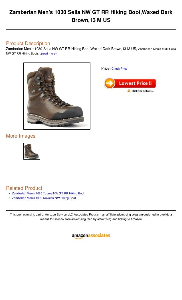 ••Zamberlan Mens 1030 Sella NW GT RR Hiking Boot,Waxed DarkBrown,13 M USProduct DescriptionZamberlan Mens 1030 Sella NW GT...