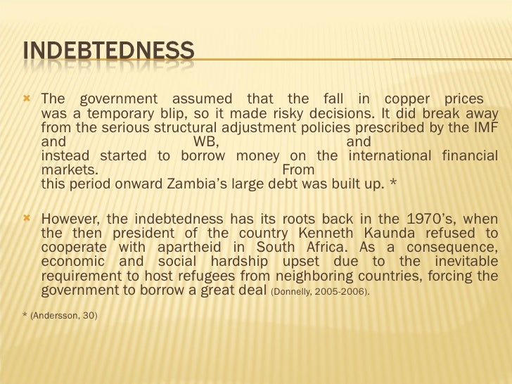 An introduction to the zambias debt crisis