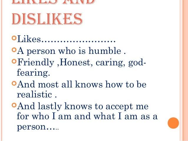 dislikes of a person
