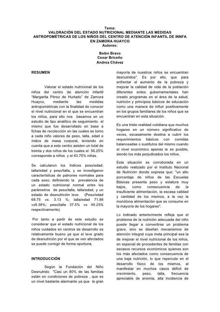 Tema:        VALORACIÓN DEL ESTADO NUTRICIONAL MEDIANTE LAS MEDIDAS  ANTROPOMÉTRICAS DE LOS NIÑOS DEL CENTRO DE ATENCIÓN I...