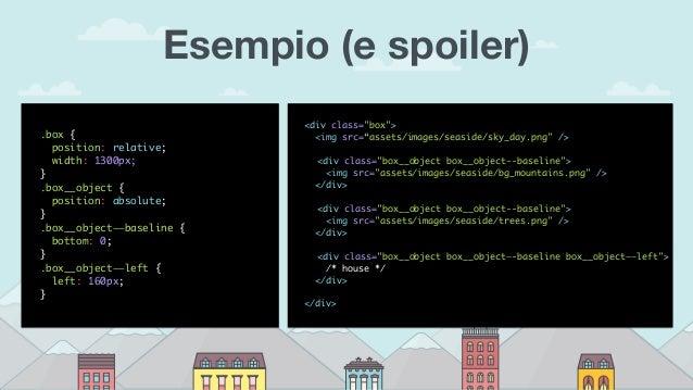 Esempio (e spoiler) .box { position: relative; width: 1300px; } .box__object { position: absolute; } .box__object——baselin...