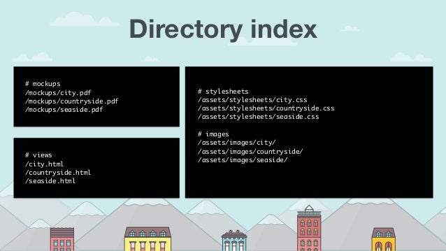 Directory index #mockups /mockups/city.pdf /mockups/countryside.pdf /mockups/seaside.pdf #views /city.html /countryside...