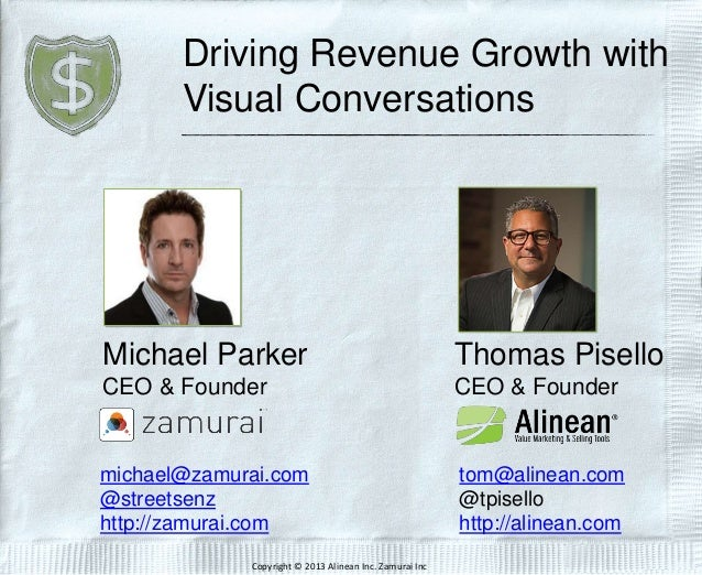 Driving Revenue Growth with Visual Conversations Thomas Pisello CEO & Founder tom@alinean.com @tpisello http://alinean.com...