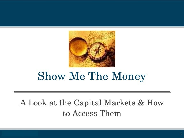 Show Me The Money A Look at the Capital Markets & How to Access Them