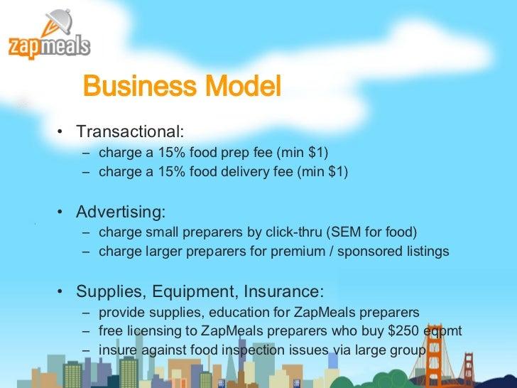 Business Model <ul><li>Transactional:  </li></ul><ul><ul><li>charge a 15% food prep fee (min $1) </li></ul></ul><ul><ul><l...