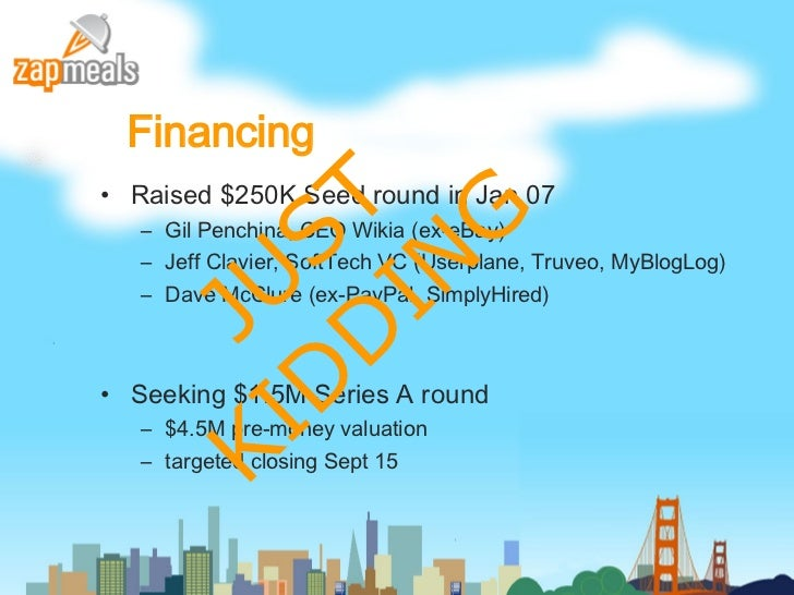 Financing <ul><li>Raised $250K Seed round in Jan 07 </li></ul><ul><ul><li>Gil Penchina, CEO Wikia (ex-eBay) </li></ul></ul...