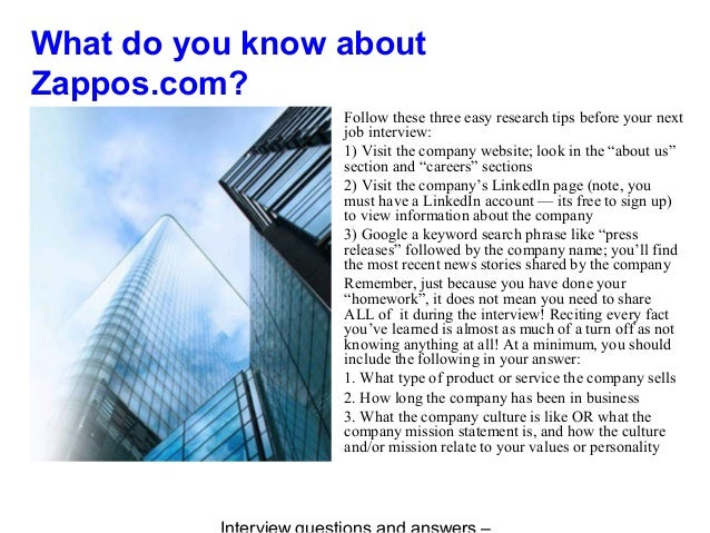 Zappos.com interview questions and answers Slide 3