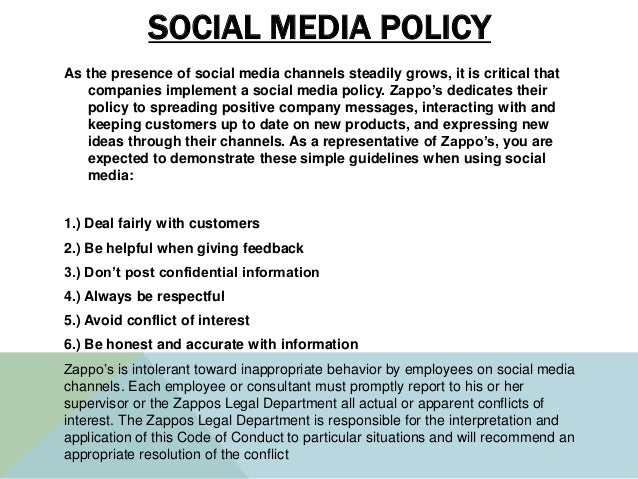 SOCIAL MEDIA POLICY As the presence of social media channels steadily grows, it is critical that companies implement a soc...
