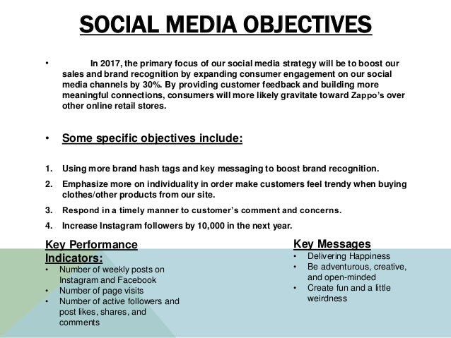 SOCIAL MEDIA OBJECTIVES • In 2017, the primary focus of our social media strategy will be to boost our sales and brand rec...