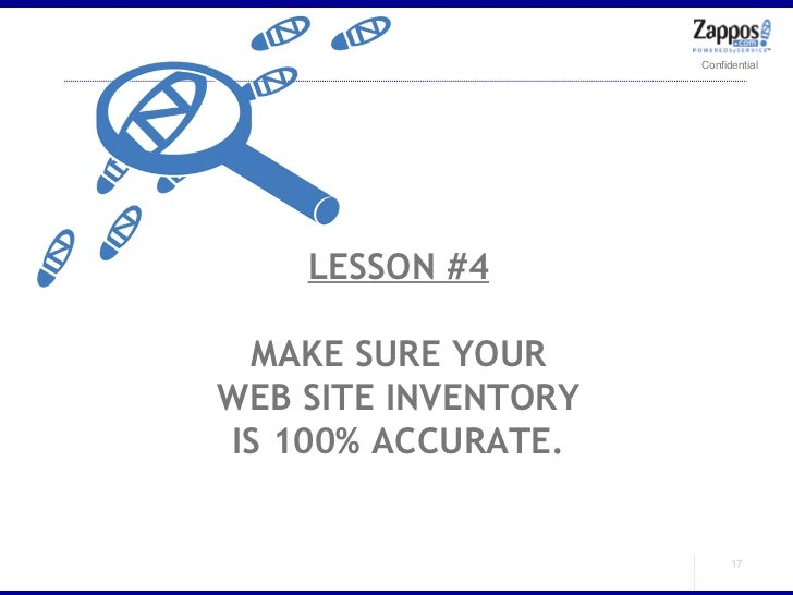 LESSON #4 MAKE SURE YOUR WEB SITE INVENTORY IS 100% ACCURATE.