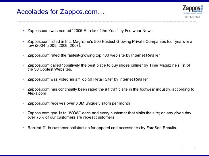 "Accolades for Zappos.com… <ul><ul><li>Zappos.com was named ""2005 E-tailer of the Year"" by Footwear News </li></ul></ul><ul..."