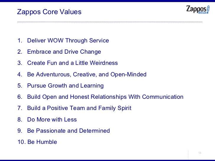 Zappos Core Values <ul><li>Deliver WOW Through Service </li></ul><ul><li>Embrace and Drive Change </li></ul><ul><li>Create...