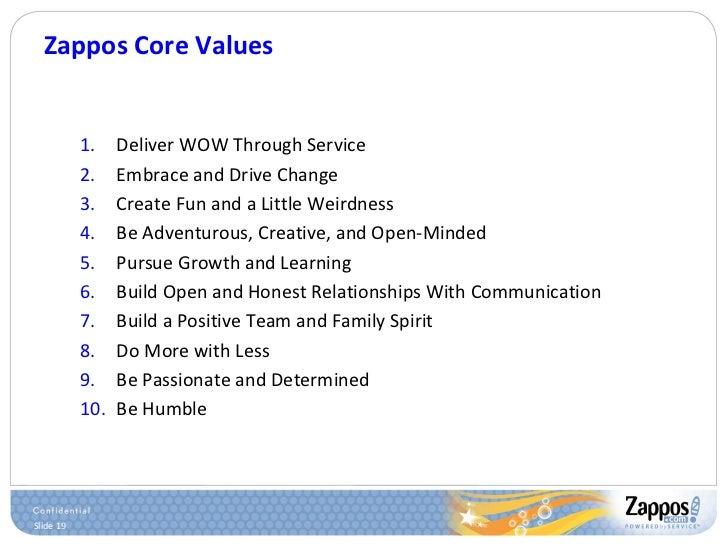 Zappos Core Values <ul><ul><li>Deliver WOW Through Service </li></ul></ul><ul><ul><li>Embrace and Drive Change </li></ul><...