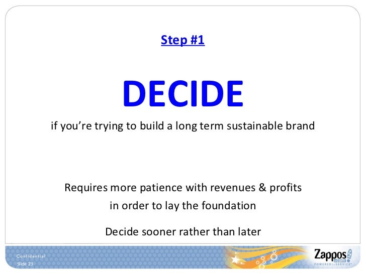 Step #1 <ul><li>DECIDE </li></ul><ul><li>if you're trying to build a long term sustainable brand </li></ul><ul><li>Require...