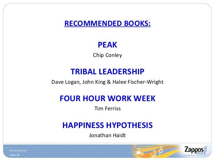 RECOMMENDED BOOKS: <ul><li>PEAK </li></ul><ul><li>Chip Conley </li></ul><ul><li>TRIBAL LEADERSHIP </li></ul><ul><li>Dave L...
