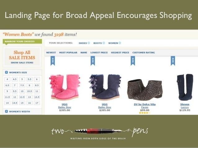 Landing Page for Broad Appeal Encourages Shopping