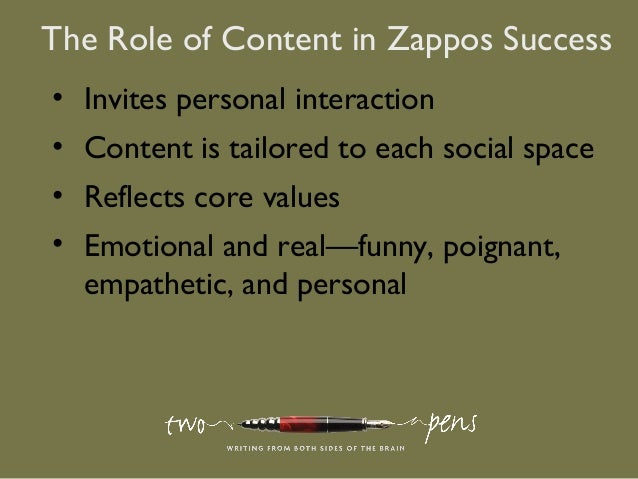 The Role of Content in Zappos Success• Invites personal interaction• Content is tailored to each social space• Reflects co...