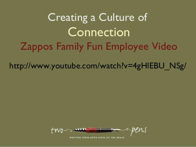 Creating a Culture ofConnectionZappos Family Fun Employee Videohttp://www.youtube.com/watch?v=4gHlEBU_NSg/