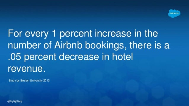 @kyleplacy For every 1 percent increase in the number of Airbnb bookings, there is a .05 percent decrease in hotel revenue...