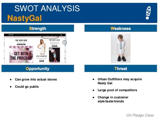 SWOT ANALYSIS NastyGal  ●  Can grow into actual stores  ●  Could go public  ●  Urban Outfitters may acquire Nasty Gal  ●  ...