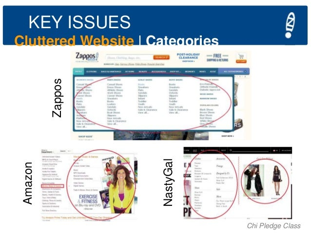 KEY ISSUES  NastyGal  Amazon  Zappos  Cluttered Website   Categories  Chi Pledge Class