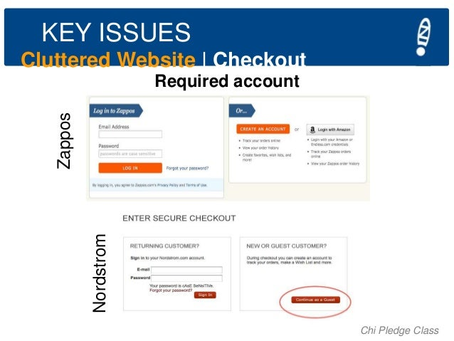 KEY ISSUES Cluttered Website   Checkout  Nordstrom  Zappos  Required account  Chi Pledge Class