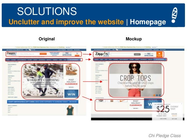 SOLUTIONS Unclutter and improve the website   Homepage Original  Mockup  Chi Pledge Class