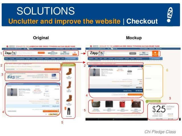 SOLUTIONS Unclutter and improve the website   Checkout Original  Mockup  1  1  2  2  6 3  4  3  5  4 5  Chi Pledge Class