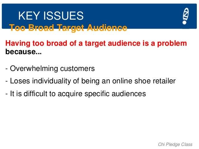 KEY ISSUES Too Broad Target Audience Having too broad of a target audience is a problem because... - Overwhelming customer...