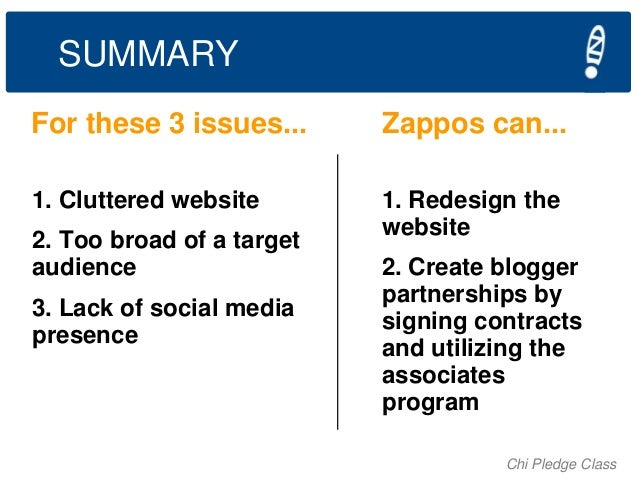 SUMMARY For these 3 issues...  Zappos can...  1. Cluttered website  1. Redesign the website  2. Too broad of a target audi...