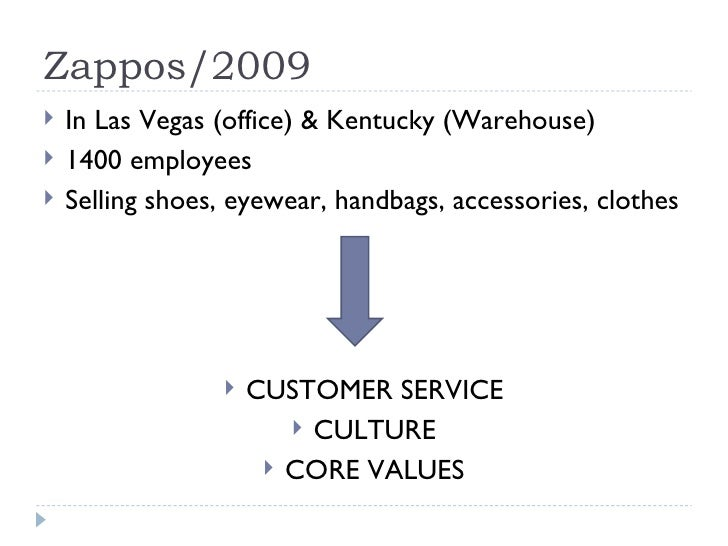 Zappos/2009 <ul><li>In Las Vegas (office) & Kentucky (Warehouse) </li></ul><ul><li>1400 employees </li></ul><ul><li>Sellin...