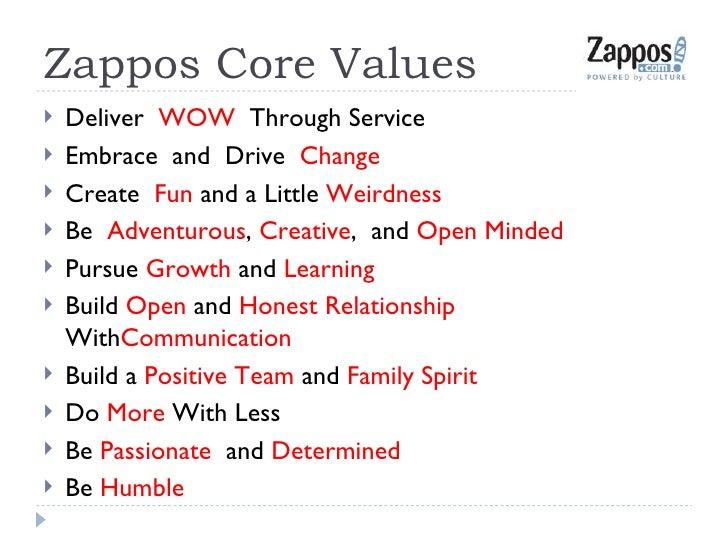 Zappos Core Values <ul><li>Deliver  WOW   Through Service </li></ul><ul><li>Embrace  and  Drive  Change </li></ul><ul><li>...