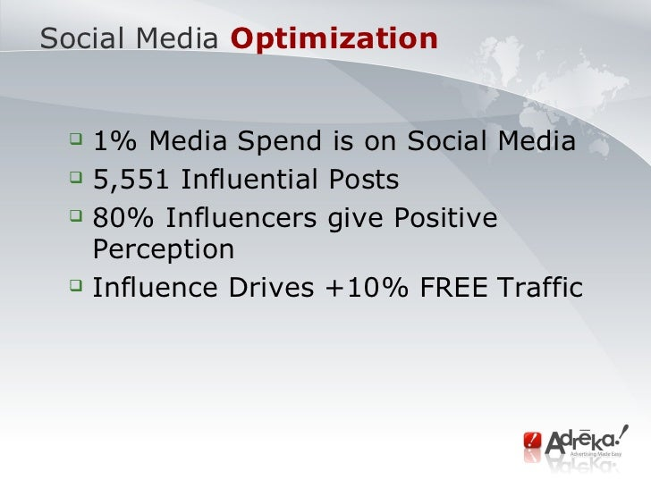 Social Media   Optimization  <ul><ul><li>1% Media Spend is on Social Media </li></ul></ul><ul><ul><li>5,551 Influential Po...