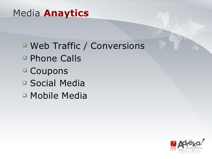 Media   Anaytics <ul><ul><li>Web Traffic / Conversions </li></ul></ul><ul><ul><li>Phone Calls </li></ul></ul><ul><ul><li>C...