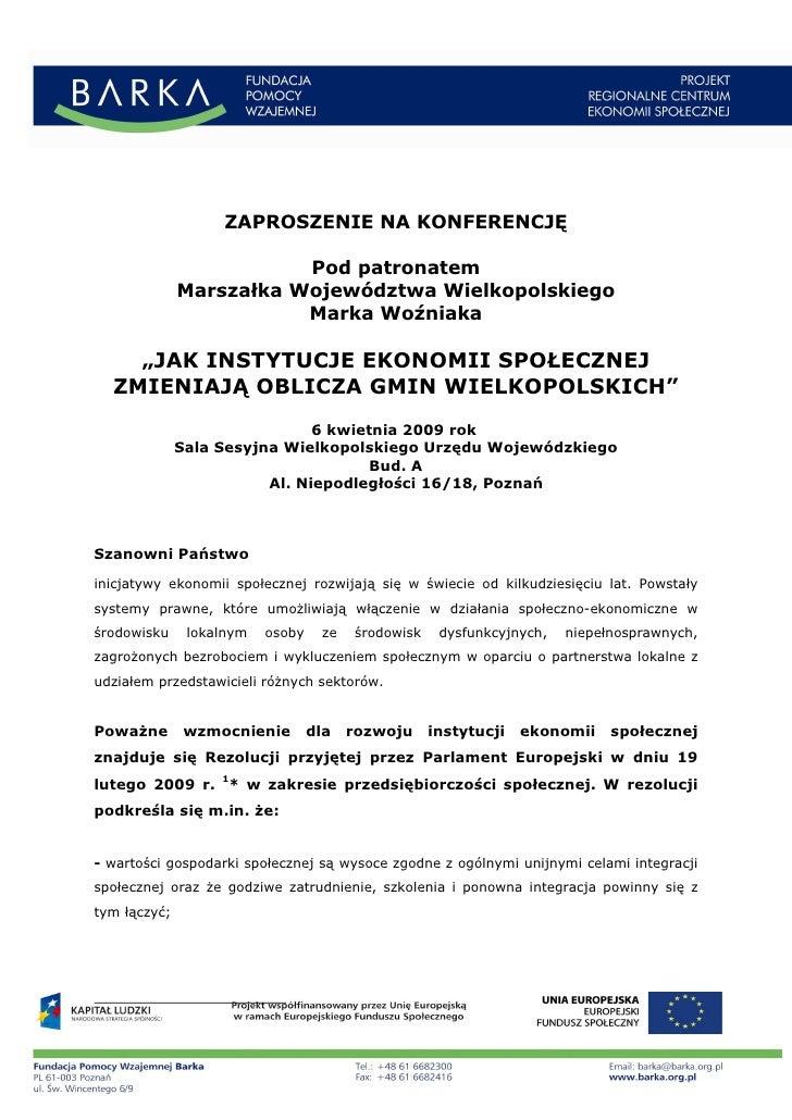 ZAPROSZENIE NA KONFERENCJĘ                           Pod patronatem               Marszałka Województwa Wielkopolskiego   ...