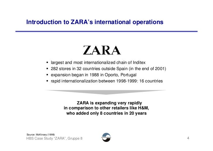 Introduction to ZARA's international operations                        largest and most internationalized chain of Inditex...