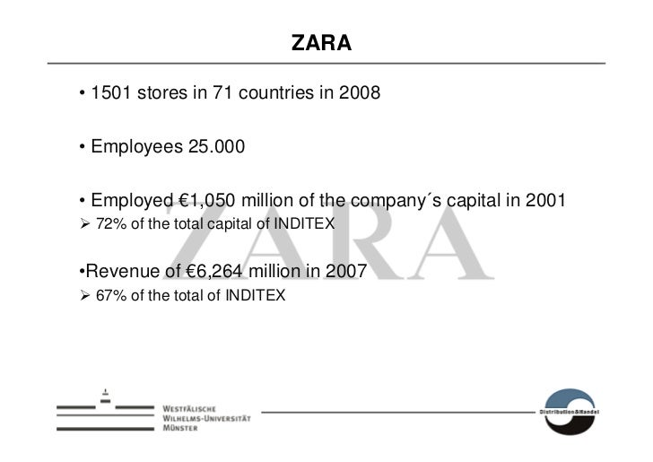 ZARA  • 1501 stores in 71 countries in 2008  • Employees 25.000  • Employed €1,050 million of the company´s capital in 200...