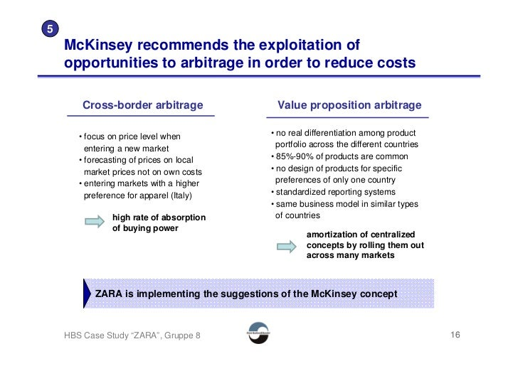 5     McKinsey recommends the exploitation of     opportunities to arbitrage in order to reduce costs          Cross-borde...