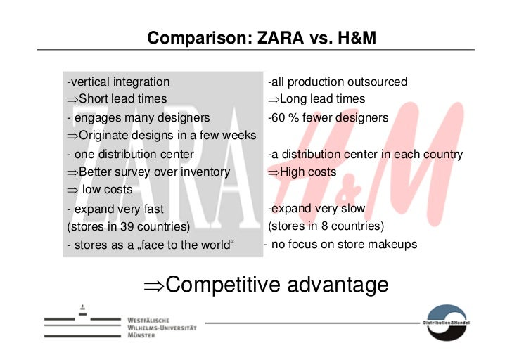a comparison of gap and zara Zara and h&m fall under the fast fashion category, with zara being slight better in terms of quality, but also more expensive to boot i'd say uniqlo is more comparable to gap, where they both make decent quality, basic clothes, albeit not very fashion-forward.