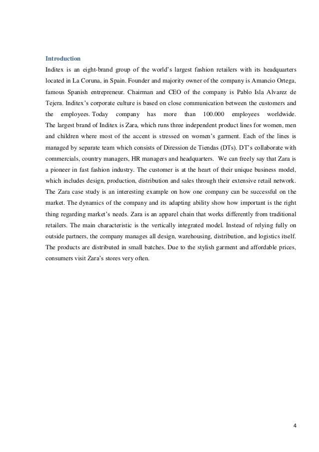 ZARA CASE STUDY  Fast Fashion Zara Final Version Studypool