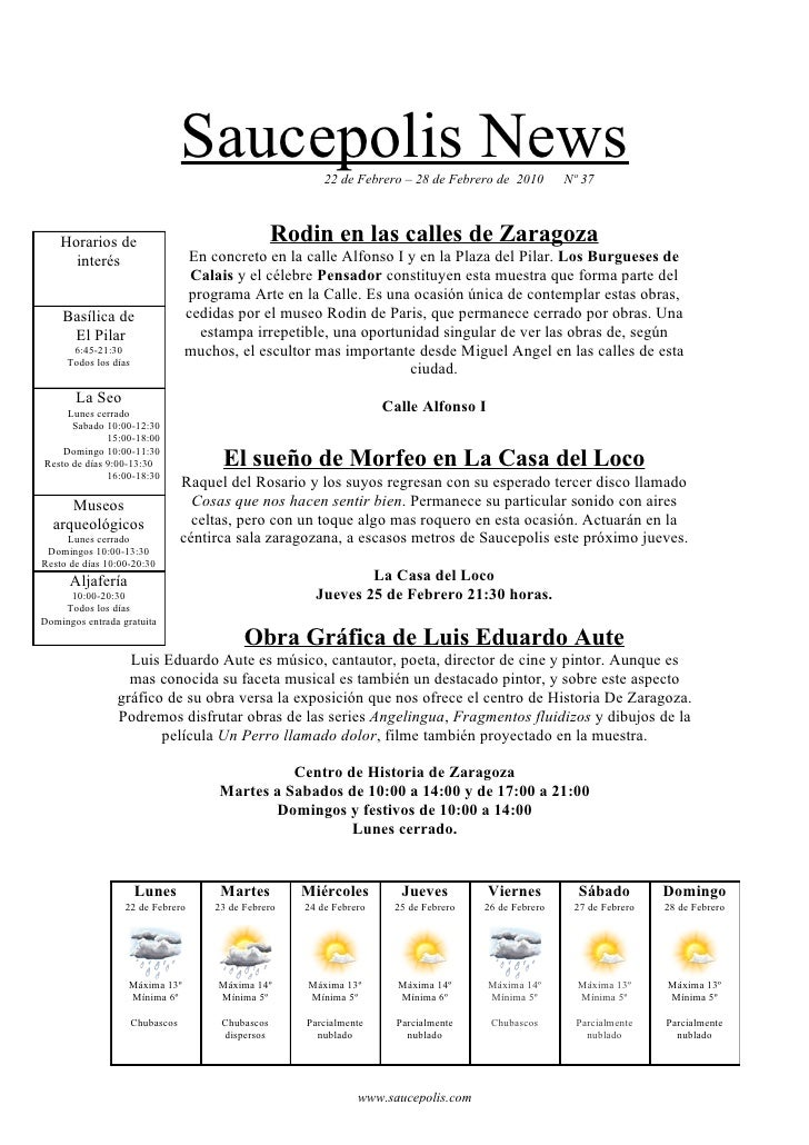 Saucepolis News          22 de Febrero – 28 de Febrero de 2010        Nº 37        Horarios de                            ...